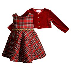 Baby Girl Youngland Plaid Taffeta Dress & Velvet Shrug Set
