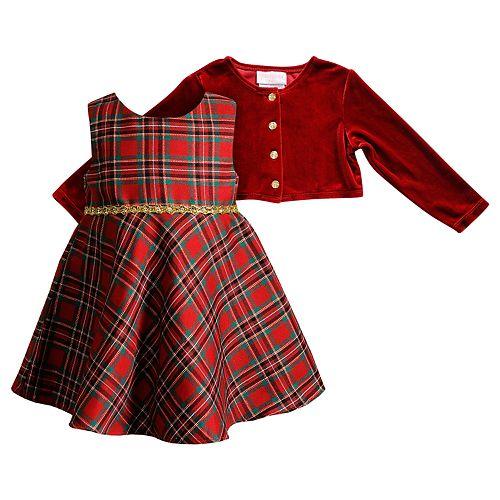 Baby Girl Youngland Plaid Taffeta Dress & Velvet Shrug Set