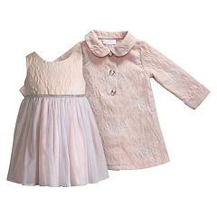 Baby Girl Youngland Jacquard Floral Tulle Dress & Coat Set