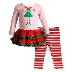 Baby Girl Youngland 'Elfie Selfie' Tulle Dress & Striped Leggings Set