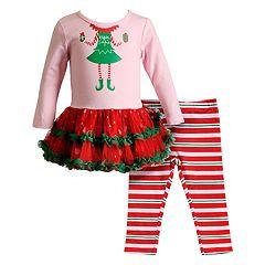 Baby Girl Youngland 'Elfie Selfie' Tulle Dress & Striped Leggings Set