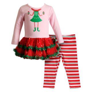 "Baby Girl Youngland ""Elfie Selfie"" Tulle Dress & Striped Leggings Set"