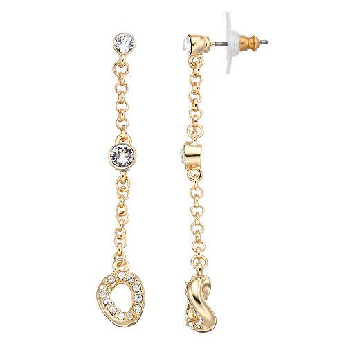 Dana Buchman Crystal & Chain Linear Drop Earrings