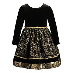 Baby Girl Youngland Foiled Velvet Dress