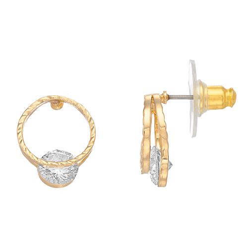 Dana Buchman Simulated Crystal Double Hoop Earrings