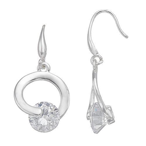 Dana Buchman Cubic Zirconia Hoop Drop Earrings
