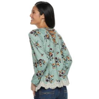Juniors' Rewind Lace-Up Back Crochet Trim Long Sleeve Tee