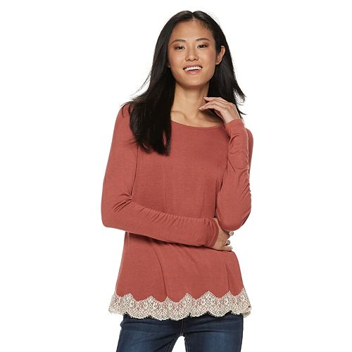 Juniors' Rewind Lace-Up Back Crochet Trim Long Sleeve Tee