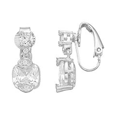 Dana Buchman Cubic Zirconia Double-Drop Clip On Earrings