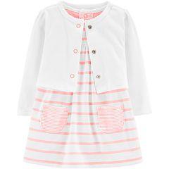 4e8aacc65 Baby Girl Carter s Striped Bodysuit Dress   Cardigan Set