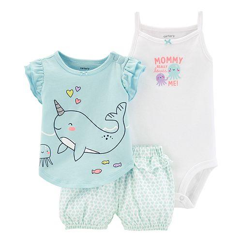 fe22ae7298955 Baby Girl Carter's Whale Tee, Bodysuit & Bubble Shorts Set