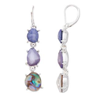 Dana Buchman Purple Simulated Abalone  Drop Earrings