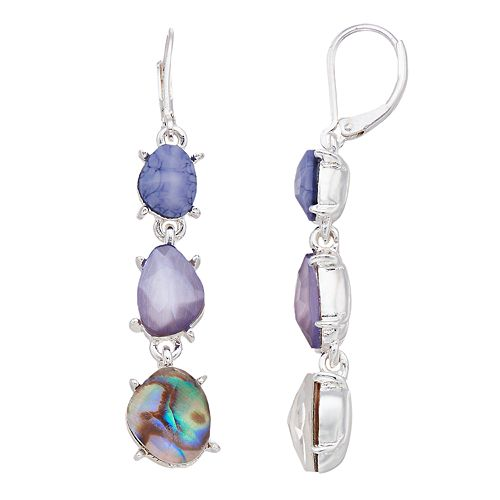 Dana Buchman Purple Simulated Abalone  Drop Earrings