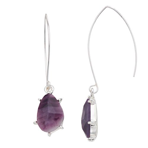 Dana Buchman Purple Threader Drop Earrings