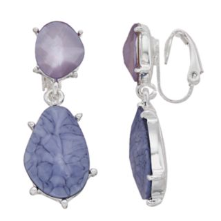 Dana Buchman Purple Double-Drop Clip On Earrings