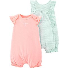Baby Girl Carter's 2-pack 'Happy' Graphic & Heart Rompers