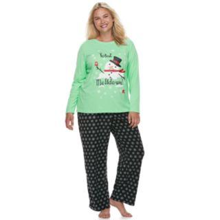 """Plus Size Jammies For Your Families Snowman & Snowflakes """"Total Meltdown"""" Top & Microfleece Bottoms Pajama Set"""