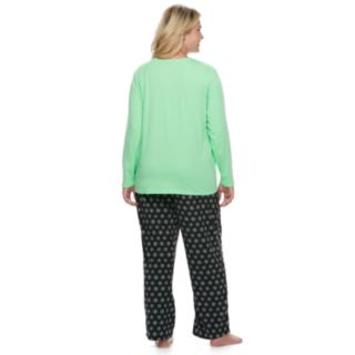 "Plus Size Jammies For Your Families Snowman & Snowflakes ""Total Meltdown"" Top & Microfleece Bottoms Pajama Set"