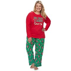 Plus Size Jammies For Your Families 'Be Nice I Know Santa' Top & Santa Microfleece Bottoms Pajama Set