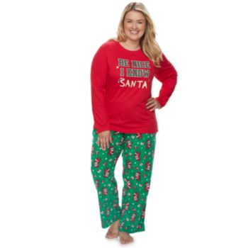 "Plus Size Jammies For Your Families ""Be Nice I Know Santa"" Top & Santa Microfleece Bottoms Pajama Set"