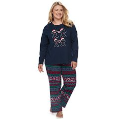 Plus Size Jammies For Your Families Gingerbread Man Holiday Top & Fairisle Microfleece Bottoms Pajama Set