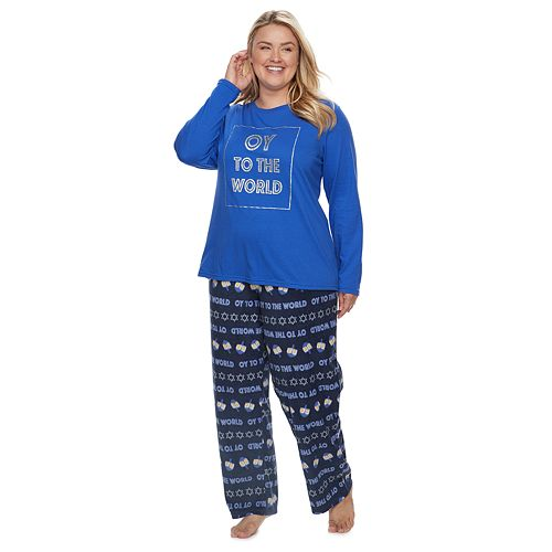 "Plus Size Jammies For Your Families Hanukkah ""Oy to the World"" Top & Microfleece Bottoms Pajama Set"