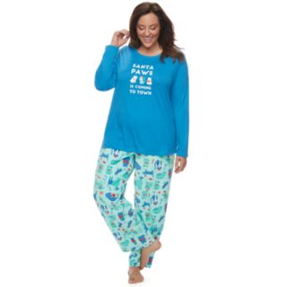 "Plus Size Jammies For Your Families ""Santa Paws is Coming to Town"" Top & Microfleece Dog & Cat Pattern Bottoms Pajama Set"