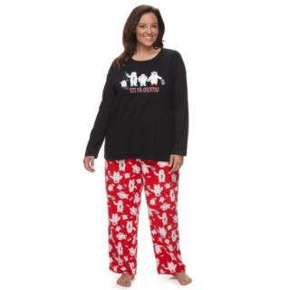 "Plus Size Jammies For Your Families ""Yeti For Christmas"" Top & Microfleece Bottoms Pajama Set"
