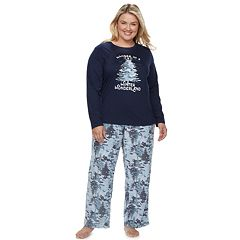 Plus Size Jammies For Your Families Holiday Camouflage 'Wander in a Winter Wonderland' Top & Microfleece Bottoms Pajama Set