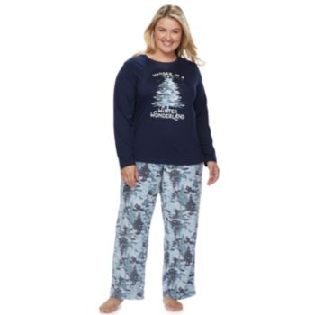 "Plus Size Jammies For Your Families Holiday Camouflage ""Wander in a Winter Wonderland"" Top & Microfleece Bottoms Pajama Set"
