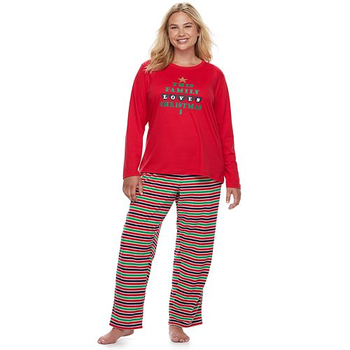 """Plus Size Jammies For Your Families """"This Family Loves Christmas"""" Top & Microfleece Striped Bottoms Pajama Set"""