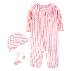 Baby Girl Carter's Heart Jumpsuit, Hat & Socks Set