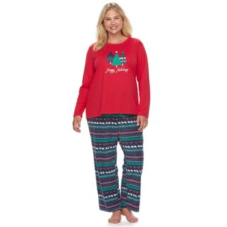 Plus Size Jammies For Your Families Happy Holidays Family Pajamas Top & Microfleece Bottoms Set