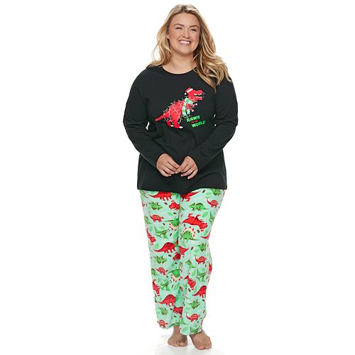 "Plus Size Jammies For Your Families Dino ""Rawr to the World"" Top & Microfleece Bottoms Pajama Set"