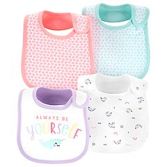 Baby Girl Carter's 4-pack Whale  & Heart Bibs