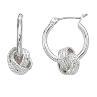 Dana Buchman Silver-Tone Knot Hoop Earrings