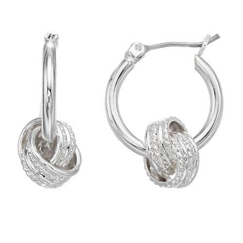Dana Buchman Silver-Tone Knot Hoop Earrings