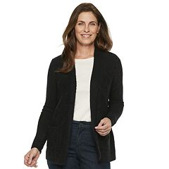 Petite Croft & Barrow® Airy Fuzzy Open-Front Cardigan