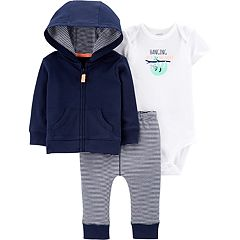 Baby Boy Carter's Graphic Bodysuit, Hoodie & Striped Pants Set