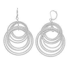 Dana Buchman Textured  Hoop Drop Earrings