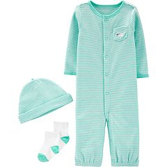 Baby Boy Carter's Striped Jumpsuit, Hat & Socks Set