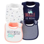 Baby Girl Carter's 4-pack Embroidered  & Print Bibs