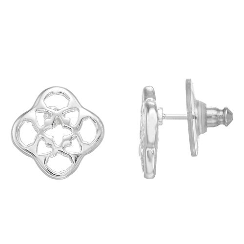 Dana Buchman Scroll Silver-Tone Button Earrings