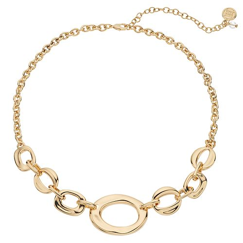 Dana Buchman Gold Tone Oval Link Statement Necklace