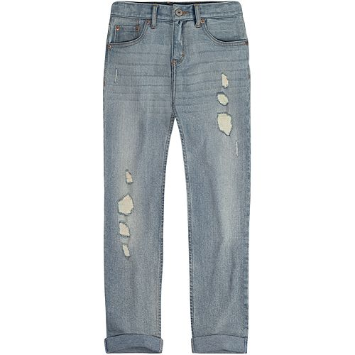 Girls 7-16 Levi's Destructed Rolled Cuff Light Wash Girlfriend Jeans