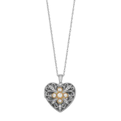 Two Tone Sterling Silver Lab Created White Sapphire Filigree Heart Locket Necklace