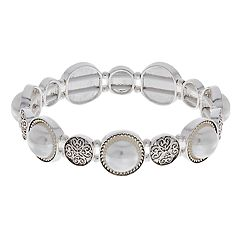 Napier Silver Tone Simulated Pearl Stretch Bracelet