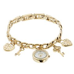 Armitron Women's Crystal Key & Heart Lock Charm Watch - 75/5620MPGP