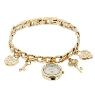 Armitron Women's Crystal Key & Heart Lock Charm Watch - 75/5620MPGP