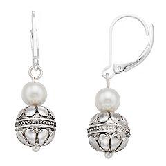 Napier Bead & Simulated Pearl Drop Earrings